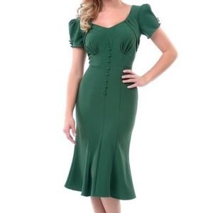 Stop Staring! Pin Up Holly Dress: Emerald Green